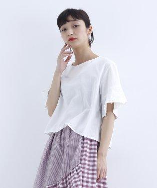 袖刺繍コットンブラウス1420-0528