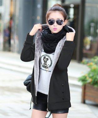 裏起毛モコモコパーカー 韓国 ファッション レディース 裏起毛 あったか 保温性 カワイイ【A/W】【vl-5313】