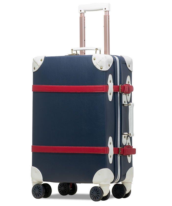 (tavivako/タビバコ)【RECESS】トランクキャリー スーツケース M サイズ ストッパー付8輪キャスター TSAロック 軽量/ユニセックス ネイビー