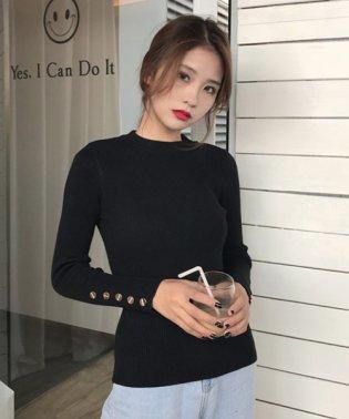 ボタン付きシンプルニット 韓国 ファッション レディース 長袖 あったか かわいい おしゃれ【A/W】【ra-2062】