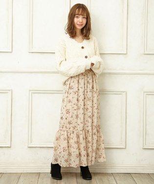 柄シフォンティアードロング/スカート