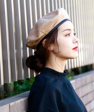 コーデュロイタッチパイピングベレー帽