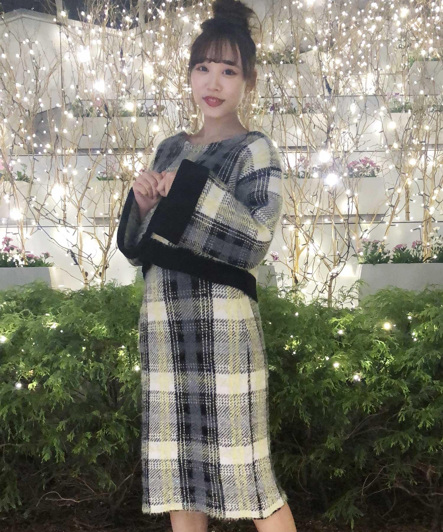 【セットアップ対応商品】チェックジャガードニットスカート