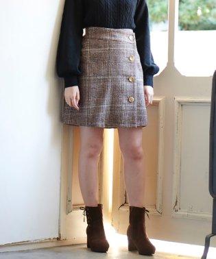 チェックラップボタンスカート