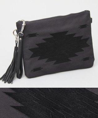 オルテガ刺繍タッセル付きクラッチバッグ/ショルダーバッグ