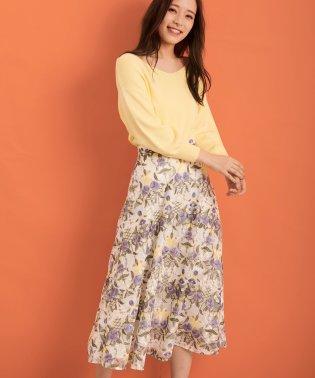 幾何学フラワー柄刺繍スカート