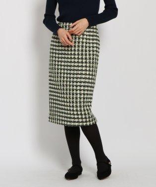 【洗える】ツイードミモレ丈タイトスカート
