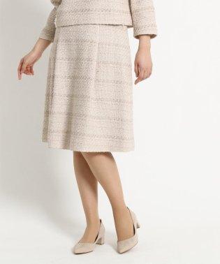 【WEB限定Lサイズあり】タックフレアーツイードスカート