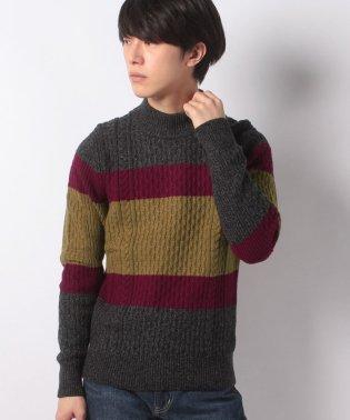 カラーブロックケーブルモックネックセーター