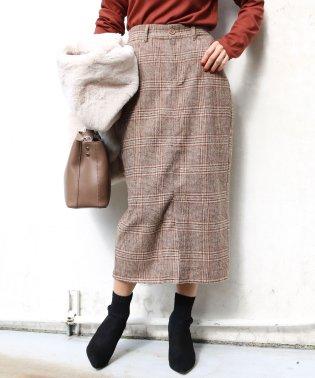 【A-7】グレンチェック柄 タイトスカート