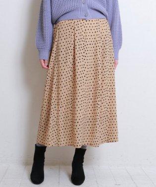 ドット柄タックフレアマキシスカート