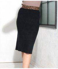 ウエストレオパードタイトリブニットスカート