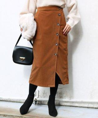 【V-1】コーデュロイ 前ボタン タイトスカート