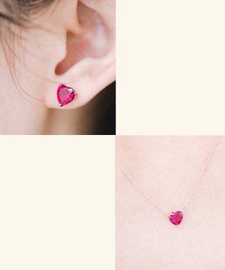 いつでも乙女心と一緒 ピンクハートのビジューピアス&ネックレスセット