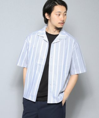 【SENSEOFPLACE】ストライプシャツ(5分袖)
