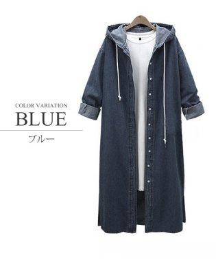 ロングデニムコート 韓国 ファッション レディース あったか ヒザ丈 カワイイ シンプル【A/W】【vl-5312】