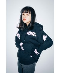 エックスガール/レディス/PULLOVER SWEAT HOOD OBLIQUE LOGO