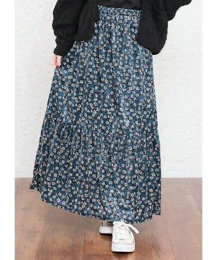 ベロア花柄ロングスカート
