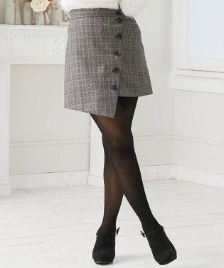 【Doula Doula】チェック柄スライドボタンショートスカート