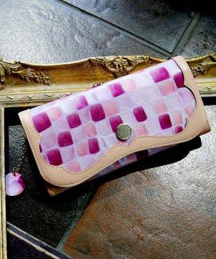 財布 レディース 長財布 本革 大容量 がま口 ステンドグラス調 エナメル フラップ ロングウォレット 日本製 Clelia-u-