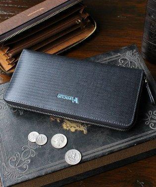 財布 メンズ 長財布 スペインレザー デニム調 ラウンドファスナー 大容量 カード多収納 VACUA
