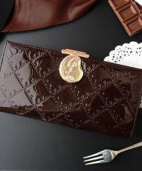 長財布 レディース がま口 大容量 ブランド エナメル フラップ がま口長財布