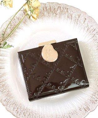 財布 レディース 極小財布 三つ折り財布 がま口 エナメル ショートウォレット