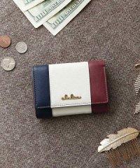 折り財布 小さい財布 財布 レディース 三つ折り ボックス型小銭入れ トリコロール