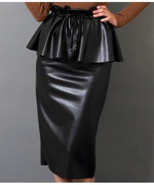 エコレザーペプラムデザインスカート