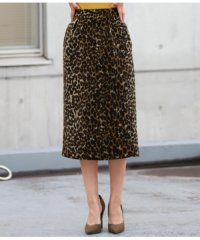 微シャギーヒョウ柄ジャガードタイトスカート