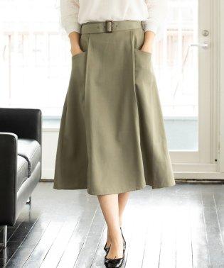 ベルト付きナローシルエットスカート