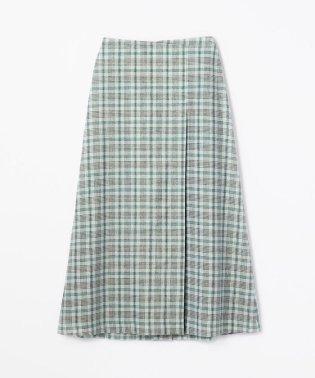 レーヨンポリエステルリネンチェック ロングラップスカート