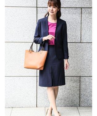 ストレッチウォッシャブルセットアップスーツ(スタンドジャケット+タイトスカート+ワイドパンツ)紺ジャガード