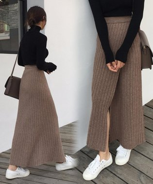 【Doula Doula】フロントラップスリット リブロングニットスカート