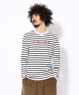 GUESS/ゲス/ボーダーロゴ ロングスリーブTシャツ