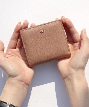 【本革】 リボンチャーム 二つ折り財布 / ミニウォレット