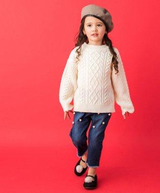 編み地切り替えハイネックニットセーター