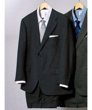 【大きいサイズ】ストレッチ洗えるスラックス  シャドーチェック黒ワンタック2ピーススーツ