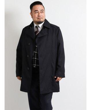 【大きいサイズ】ライナー付き撥水ショートトレンチコート ジャガード紺
