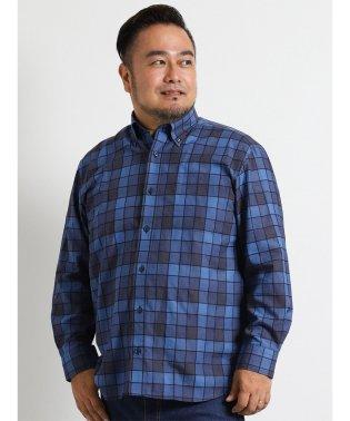 【大きいサイズ】朱子チェックボタンダウン長袖シャツ