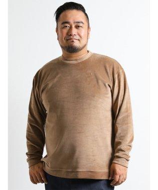 【大きいサイズ】天竺片面ベロアクルーネック長袖Tシャツ