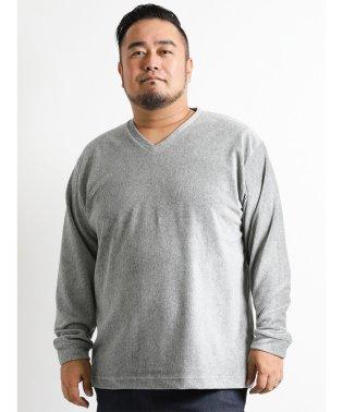 【大きいサイズ】細コールベロアVネック長袖Tシャツ