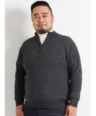 【大きいサイズ】ケーブル柄ハーフジップセーター