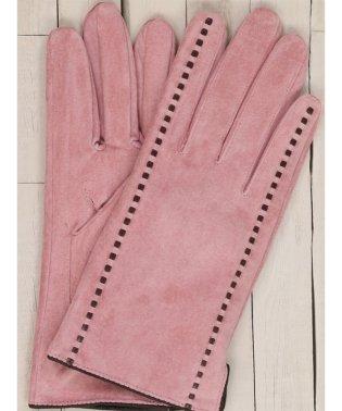 ステッチ入りスウェード手袋 ピンク