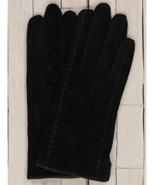 ステッチ入りスウェード手袋 黒