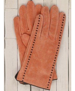 ステッチ入りスウェード手袋 オレンジ