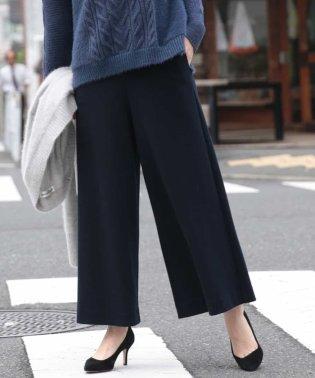 【洗える・日本製】ウールパールニットガウチョパンツ