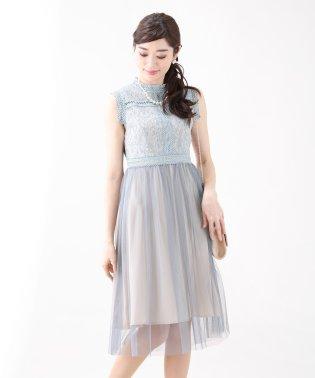 《結婚式 パーティー 二次会》ハイネックラメレースxチュール切替ドレス