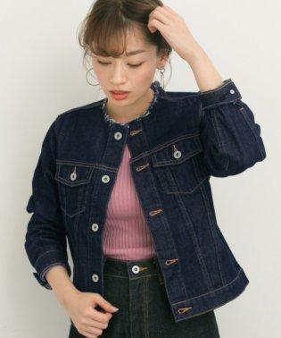 【予約】USED風ノーカラーデニムジャケット