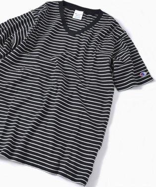 Champion×SHIPS: 別注 ウォッシュドコットン ボーダー Vネック Tシャツ